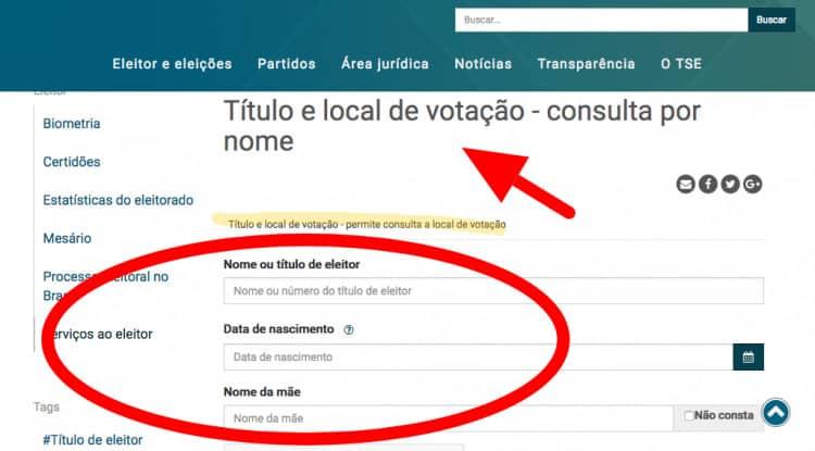 consultar TÍTULO de eleitor zona e seção pelo cpf